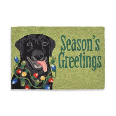 """Seasons Greetings!"" 20-Inch x 30-Inch Indoor/Outdoor Porch Rug in Green"