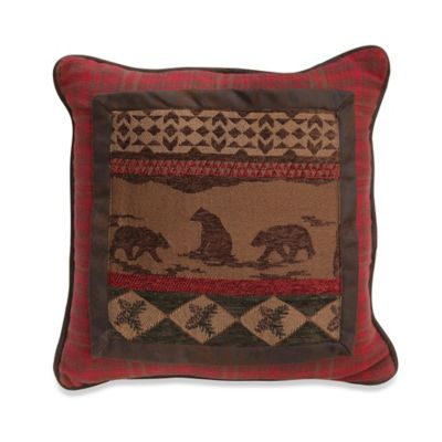 HiEnd Accents Polyester Cascade Lodge Bear Pillow in Brown/Red