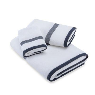 Navy White Fingertip Towel