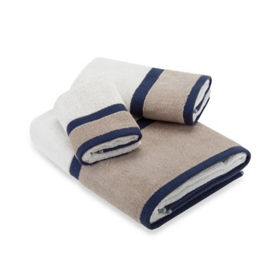 Navy Blue and White Towels