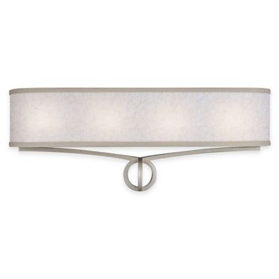 Feiss® Parchment Park 4-Light Vanity Light in Dark Silver with CFL Bulb