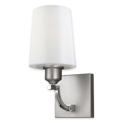 Feiss® Preakness 1-Light Bath Wall Sconce in Satin/Polished Nickel with LED Bulb
