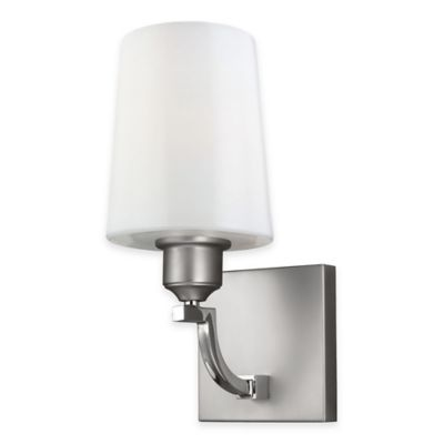 Feiss® Preakness 1-Light Bath Wall Sconce in Satin/Polished Nickel