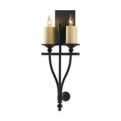 Feiss® King's Table 2-Light Wall Sconce in Antique Forged Iron