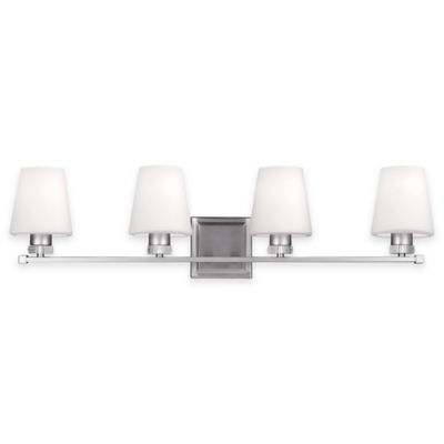 Buy Feiss Rouen 4-Light Bath Vanity Fixture in Satin Nickel from Bed Bath & Beyond