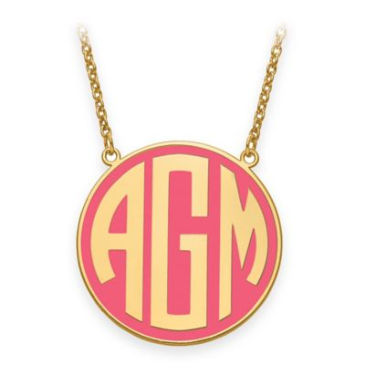 Gold-Plated Sterling Silver Medium 18-Inch Chain Block Letters Round Enamel Pendant Necklace