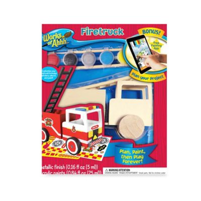 Works of Ahhh® Fire Truck Wood Painting Kit