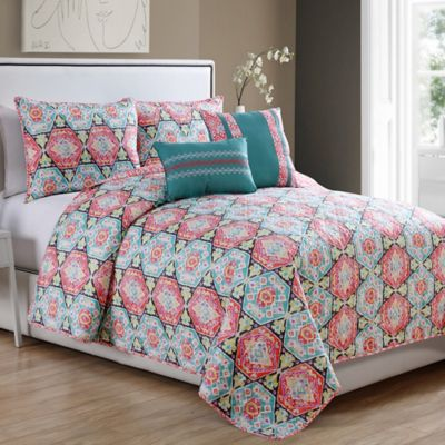 Javea 5-Piece King Quilt Set in Coral/Teal