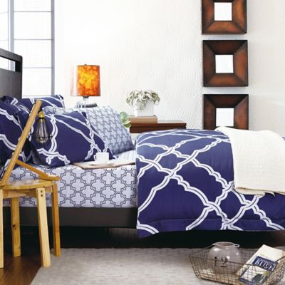 Sherry Kline Blues Hues Reversible Queen Duvet Cover Set