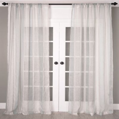 Aura 84-Inch Striped Sheer Window Curtain Panel in Taupe/Grey