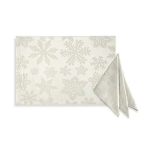 Waterford 174 Linens Snowflake Napkin And Placemat In Gold