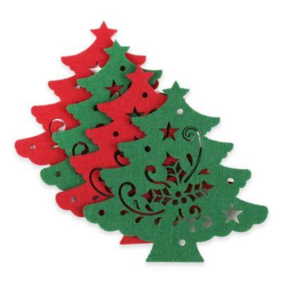 Felt Christmas Tree Coasters (Set of 4)