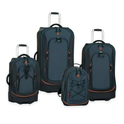 Timberland® Claremont 4-Piece Rolling Suitcase Set in Navy/Black/Orange