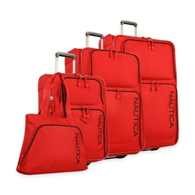 Nautica® Catamaran II 4-Piece Expandable Rolling Luggage Set in Red/Black