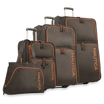 Nautica® Catamaran II 4-Piece Expandable Rolling Luggage Set in Grey/Orange
