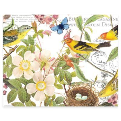 Botanical Birds 12-Inch x 15-Inch Glass Cutting Board