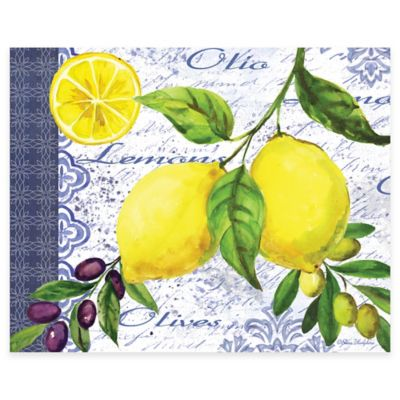 Lemons & Olives 12-Inch x 15-Inch Glass Cutting Board