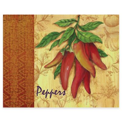 Market Fresh Peppers 12-Inch x 15-Inch Glass Cutting Board
