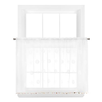 Sand Dollar 24-Inch Window Curtain Tier Pair in White