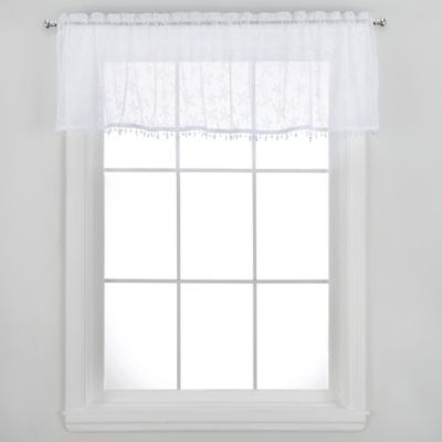 Starfish Window Valance with Trim in White