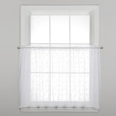 Starfish 24-Inch Window Curtain Tier Pair with Trim in White