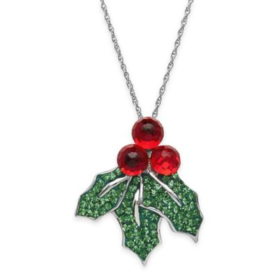 Sterling Silver Red and Green Crystal 18-Inch Chain Holly Leaf Pendant Necklace