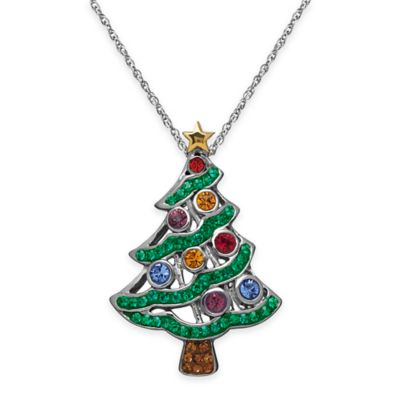 Sterling Silver Multi-Colored Crystal 18-Inch Chain Christmas Tree Pendant Necklace