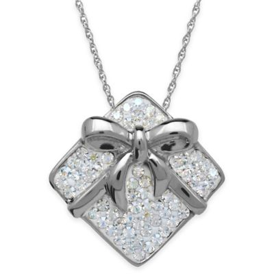 Sterling Silver White Crystal 18-Inch Chain Gift Box Pendant Necklace