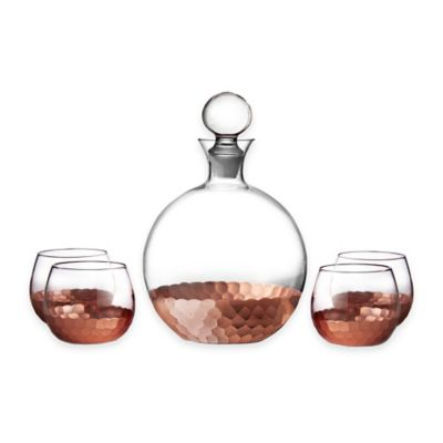 Fitz and Floyd® Daphne 5-Piece Large Whiskey Decanter Set in Copper (Set of 4)
