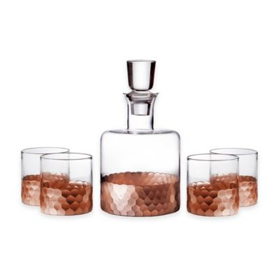 Fitz and Floyd® Daphne 5-Piece Small Whiskey Decanter Set in Copper