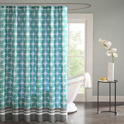 Intelligent Design Lita Shower Curtain in Aqua