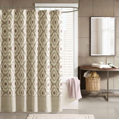Ink & Ivy Ankara Shower Curtain in Taupe
