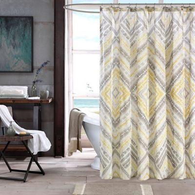 INK+IVY Cornwall Printed Shower Curtain in Yellow