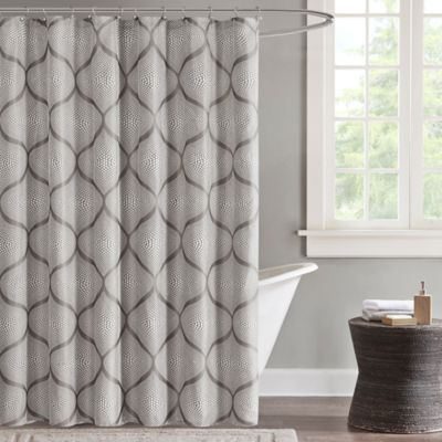 Grey Shower Curtain with Sequins
