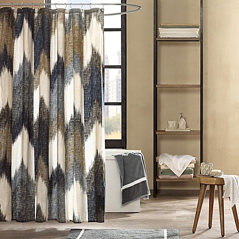 Buy INK IVY Alpine Printed Shower Curtain In Navy From Bed Bath Beyond