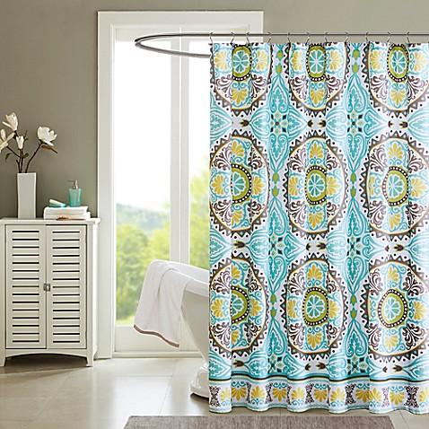 Madison park samara printed shower curtain in aqua www - Madison park bathroom accessories ...