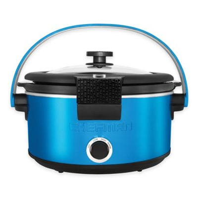 Chefman 5 qt. Locking Lid Slow Cooker with Handle in Blue