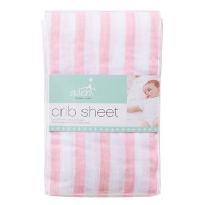 aden® by aden + anais® Muslin Fitted Crib Sheet in Pink Stripe