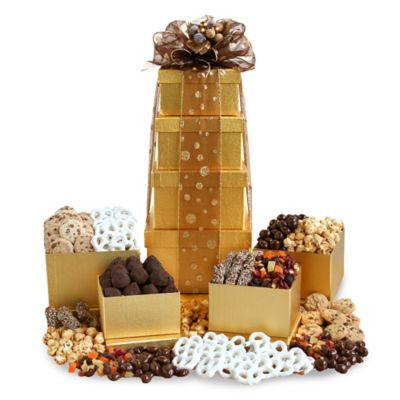 Golden Gourmet Goodies Tower Gift Set