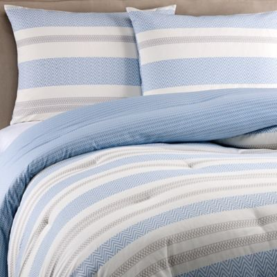 Real Simple® Mikayla Reversible Twin Comforter Set in Blue/White