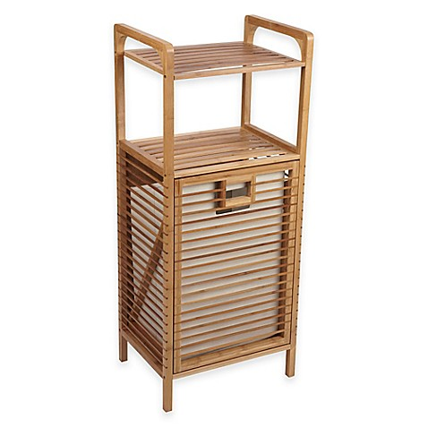 Tilt out bamboo slat laundry hamper bed bath beyond - Tilt laundry hamper ...