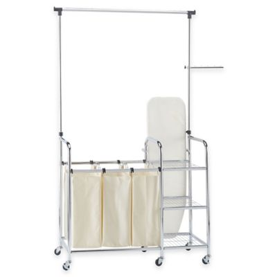 Household Essentials® Laundry Station Sorter in Chrome with Ironing Board