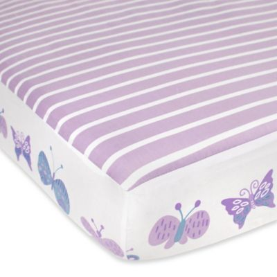 CoCaLo® Mix & Match Violet Butterfly Fitted Crib Sheet in Lavender/White