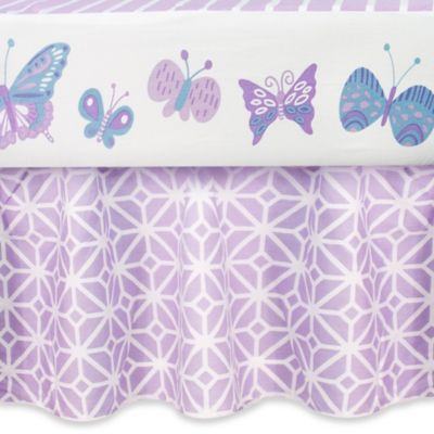 CoCaLo Mix & Match Violet Trellis Ruffled Crib Skirt in Lavender/White