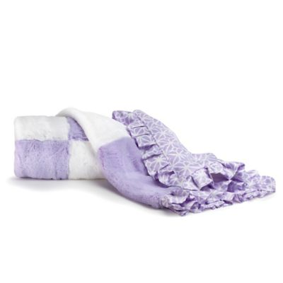 CoCaLo Mix & Match Violet Faux Fur Patchwork Blanket in Lavender