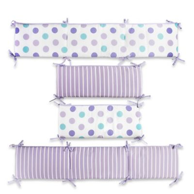 CaLo® Mix & Match Violet Reversible Dot/Stripe 4-Piece Crib Bumper Set in Lavender/White