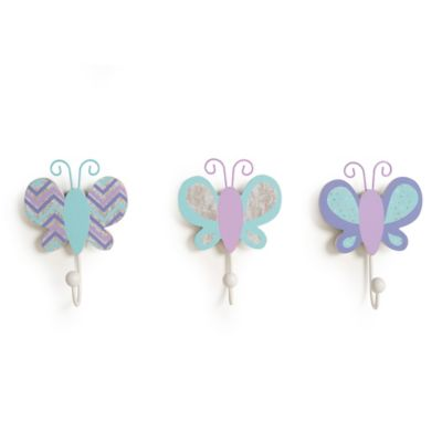 CoCaLo® Mix & Match Violet 3-Piece Butterfly Wall Hook Set in Aqua/Lavender