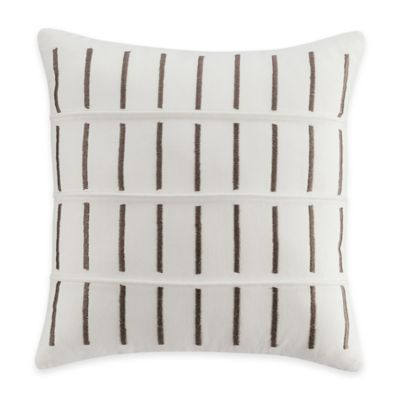 Bridge Street Loom Embroidered Square Throw Pillow in Pebble