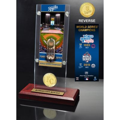 MLB Kansas City Royals 2015 World Series Champions Ticket & Bronze Coin Acrylic