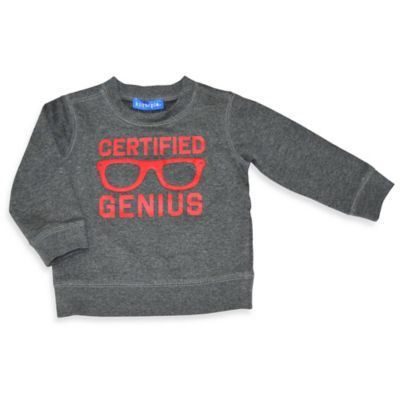 """Kidtopia Size 3M """"Certified Genius"""" Fleece Sweatshirt in Grey"""